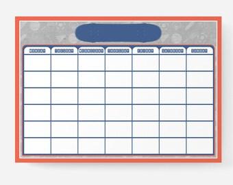 Reusable Kids Planner/Daily Tasks/To Do List + Liquid Chalk Marker + Marker Clip – A3 | Sport