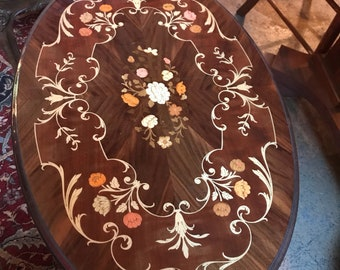 Vintage Italian Inlaid Oval Wood Table