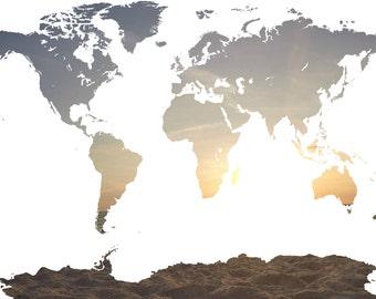 Sunset World Map {Digital Print}