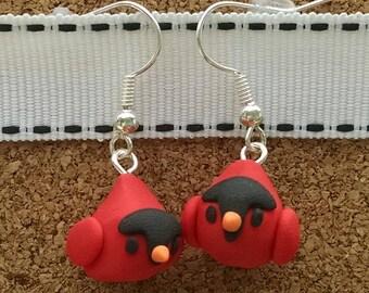 Polymer Clay Cardinal Earrings