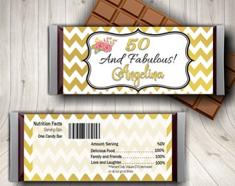 50 and Fabulous Candy Bar Wrapper, Fifty & Fabulous, 50th Birthday, Woman's 50th, Milestone Birthday, Dessert Table Favors