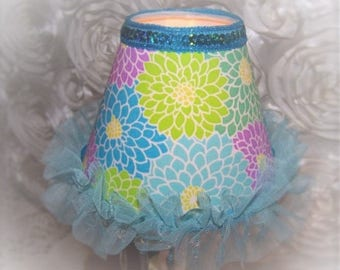 Aqua Blue Girly-Girl CHIC Purple and Green Flowers NIGHT LIGHT with Blue Beaded Fringe, Sequins and Tulle