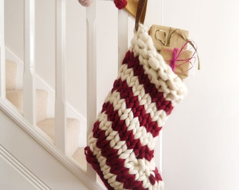 Chunky Knit Striped Christmas Stocking - Red and White Candystripe - hand knit christmas stockings - Christmas decorations - Chunky Knit
