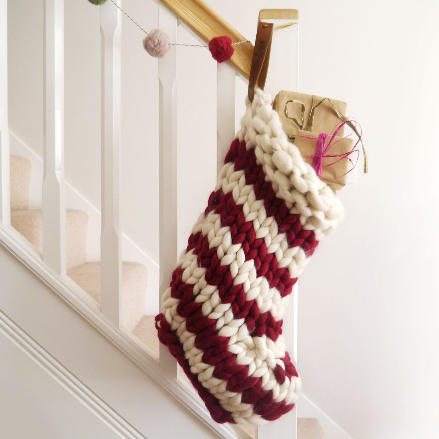 Chunky Knit Striped Christmas Stocking Red and White