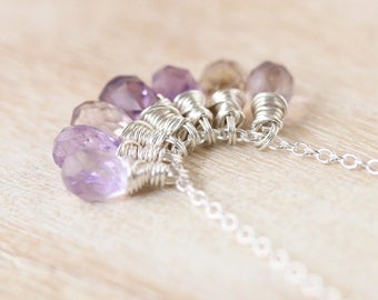 Ametrine Cluster Necklace in Sterling Silver Rose or Gold Filled. Wire Wrapped Gemstone Pendant. Layering Jewelry. Hippie Boho Jewellery