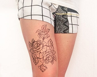 French rose XXL - Temporary tattoo