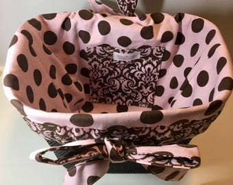Pink and Brown polka dot & Damask Bike Basket liner for Front Baskets:  Bell, Lotus, Huffy, Electra  Bike baskets Metal Wire Wicker or Mesh
