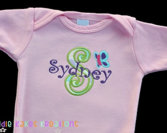 Personalized Baby Girl Applique Letter and Butterfly Bodysuit