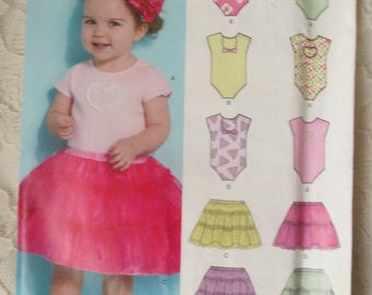 New Look Sewing Pattern 0162 Body Suit Tutu Skirt Baby Toddler NB-S-M-L 7-24 lb