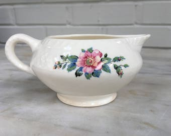 vintage Homer Laughlin floral creamer, made in USA, L9M, shabby chic, flower vase