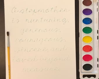 DIY watercolor (for stepmom) activity - gift for stepmom - stepmother gift - stepmother birthday - stepmother Mother's Day - stepmom gift
