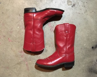 Justin Boots Size 5 B Womens - Red Cowboy Boots - Western Boots - Vintage Clothing - Leather Boots - Biker Boots - Made in USA - L3055 -
