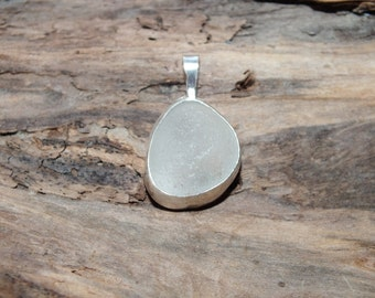 Sea Glass Pendant, White Bezeled Sea Glass Necklace, Sea Glass Jewelry, Lake Jewelry, Mothers Day Gift, Beach Jewelry