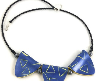 Polymer Clay Necklace Triangles Blue and Yellow Modern Geometric Design
