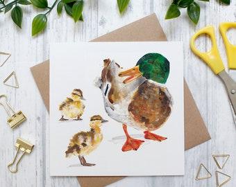 Mallard and Duckling Illustration Animal Card, Baby Animal Card, British Countryside and Wildlife, Blank Greeting Card