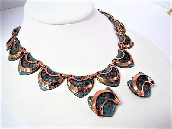 Matisse Necklace Set, Aqua Orange Enamel on Copper, RARE Color Necklace Set from the 50's
