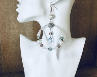 Big crysral bridal gorgeous earrings with Swarovski elements and pearls
