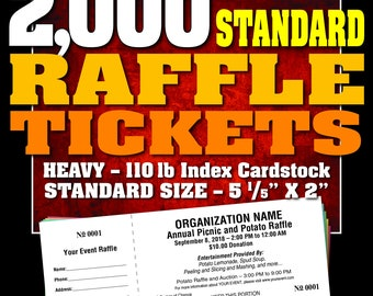 2,000 Standard Raffle Tickets, Customised, Perforated and Numbered