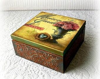 Wooden tea box , jewelry box , decoupage box , vintage style box , peonies box