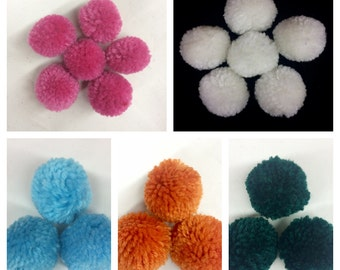 30pcs of big yarn pom poms, 35 mm pom decoration decor, cotton handmade, Pom ball high quality handmade craft kits