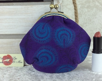 Shwe Shwe Feathers coin purse wallet fabric kiss clasp frame wallet change pouch Purple South Africa