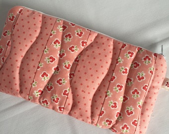 Salmon pink quilted patchwork cosmetic purse
