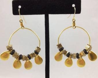 Hoop Earrings with Black Seed Beads