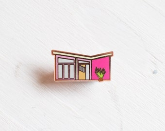 Palms Springs House pin - enamel pin - lapel pin - house pin - mid century house pin - palm springs gift  - palm springs pin - cute pin