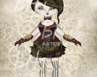 Emily Printable Paper Doll A4. Articulated Paper Doll.  Steampunk. Home Decor. Christmas Gift Idea. Illustration