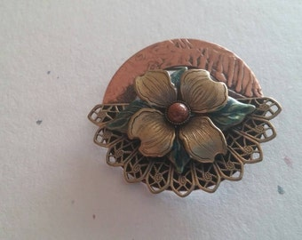 On Sale Estate Jewelry Rustic and Copper Style Flower Brooch or Pin