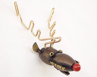 Rudolph the Red Nose Reindeer Robot Head Wood Pendant Ornament Dangle