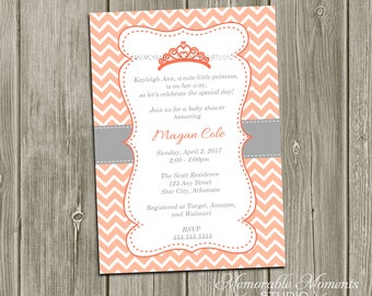 PRINTABLE INVITATIONS Chevron Princess Baby Shower or Birthday Invitation - Coral and Grey - Memorable Moments Studio