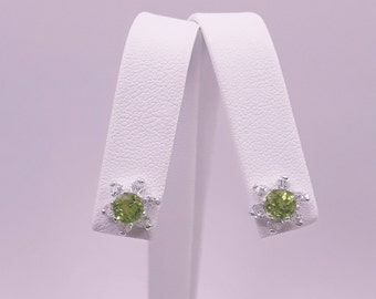 Sterling Silver Peridot & Zircon Earrings