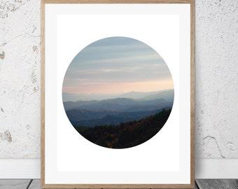 Printable Photography, Blue Ridge Mountains, Circle Art, Digital Download, Sunset