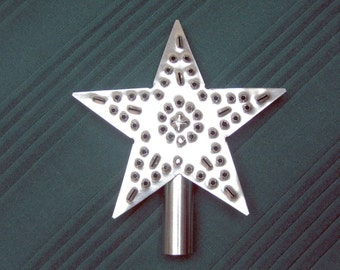 Tree Topper Metal Star Small Rustic Silver Tin Punch American Made Hand Cut By West Tinworks
