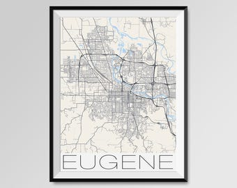 EUGENE Oregon Map, Eugene City Map Print, Eugene Map Poster, Eugene Wall Map Art, Eugene gift, Custom city maps, Personalized maps, Oregon