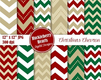 Holiday Chevron Paper, Digital Scrapbook Paper, Christmas, Digital Chevron, Red and Green