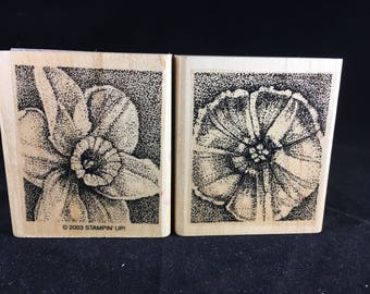 Floral Stamps Stampin up Rubber Stamps Set of 2 Used