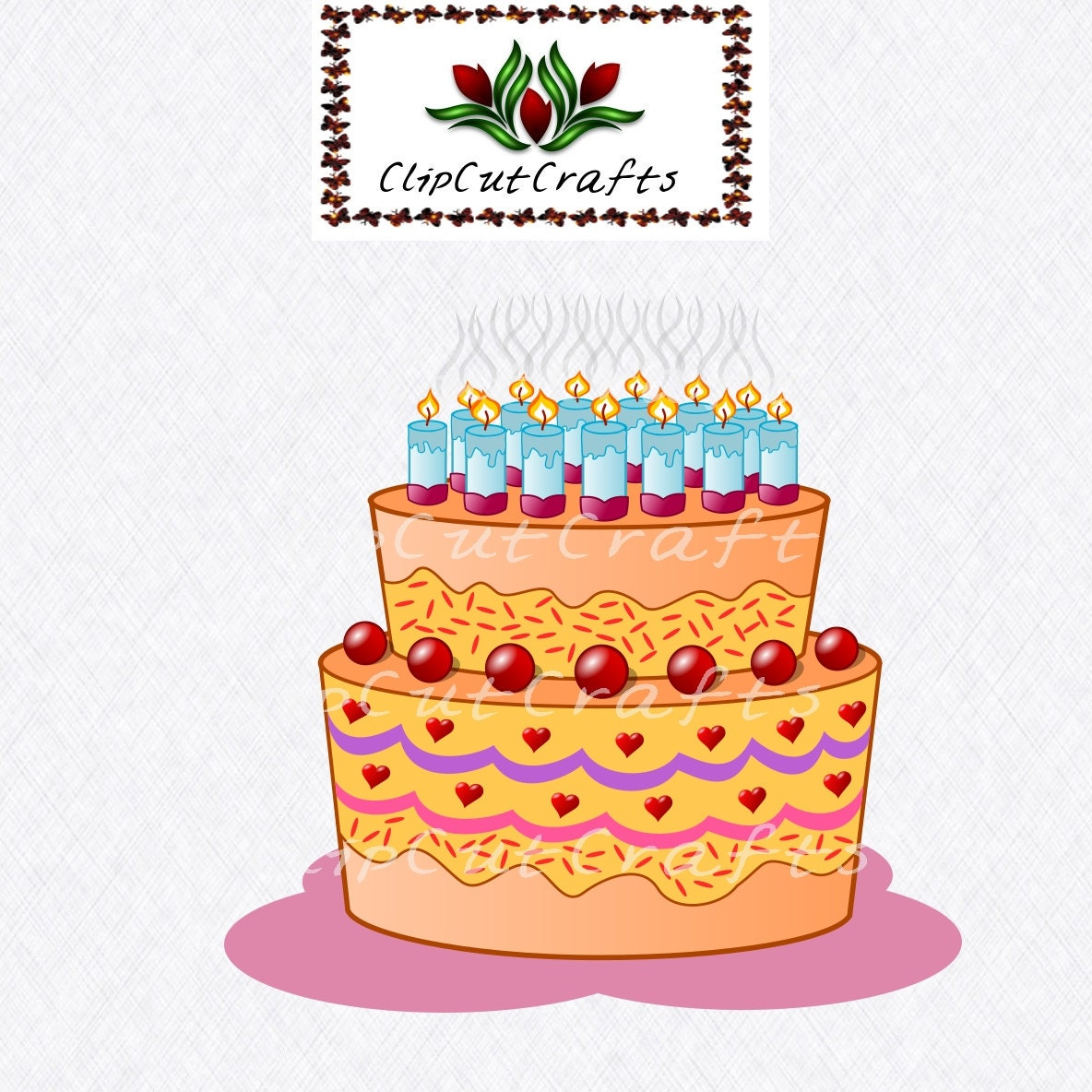 Happy Birthday Cake Design Art Cut File Print And Cut Paper Craft