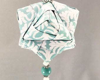 Icy Light Blue and White Patterned Handmade Origami Christmas/Holiday Ornament