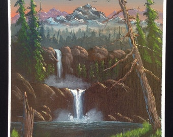 Original Hand Painted Out Door Scenery Waterfall Sunset Acrylic Painting On Canvas