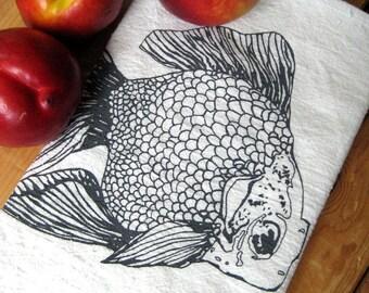 Tea Towel - Screen Printed Flour Sack Towel - Absorbent Dish Towel - Eco Friendly Cotton Towel - Goldfish - Nautical Home Decor - Flour Sack