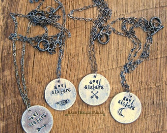 Soul Sisters Necklace best friends BFF soulmate friendship crossed arrows feather crescent moon arrow dreamcatcher horseshoe cowboy boot