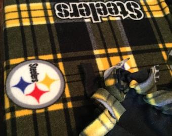Pittsburg Steelers Large Fleece Blanket-Black Backing