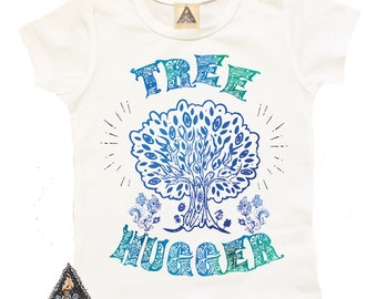 TREE HUGGER Nature boho hippie feather tribal toddler shirt / tree hugger shirt / American apparel / Boho baby