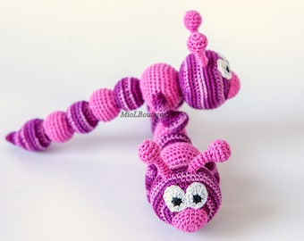 Teething baby toy Crochet baby toy Grasping and Teething Toys Crochet toy rattle Caterpillar Baby Toy Crocheted Caterpillar