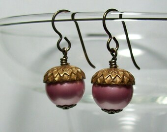 Pink Acorn Earrings. Swarovski Pearl Earrings. Brass Acorns. Niobium (Hypoallergenic) Earrings.