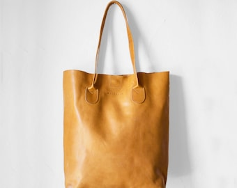 Raw Edged Tote in Camel / Leather Tote Bag  /Camel Brown Tote Bag /Tote Bag /Women's Handbag /Brown Leather Tote / Leather Handbag