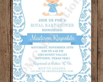 Custom Printed Royal Prince Baby Shower Invitations  - 1.00 each with envelope