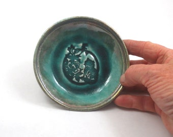 Raku chinesische Katze und Blume handgemachte Keramik Schale
